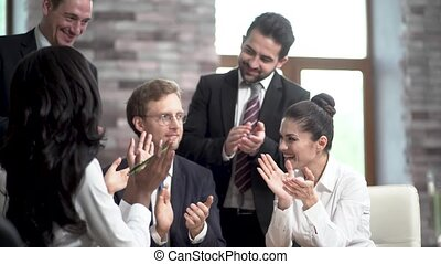 directeurs, business, compagnie, succès, jeune, grand, negotiations., complété