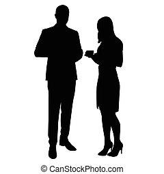 directeurs, chaussures, silhouettes., profs, fonctionnaires, coupure, jupe, partenaires, debout, bureau., avocats, femme, on., business, relâcher, chemise, boire, homme, coffee., négociants, travail, complet, vecteur, temps, à hauts talons