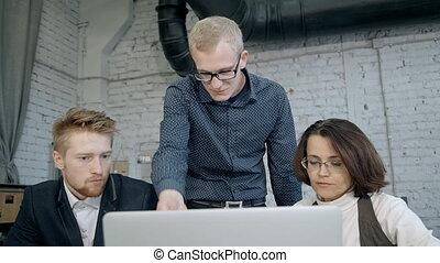 directeurs, collaboration, trois, ideas., brain-storming, intense