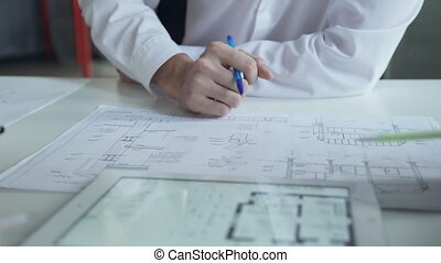 directeurs, tablette, business, trois, haut, projet, fin, discuter
