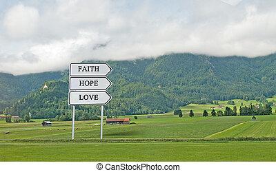 direction, à, faith;, espoir, amour