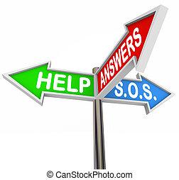 direction, aide, soutien, signes rue, 3-way, assistance