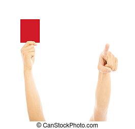 direction, arbitre, point, main, carte rouge