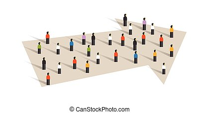 direction arrow concept of leadership crowd group of small people together business cooperation