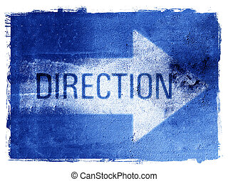 Direction arrow on textured grunge background with with border / frame