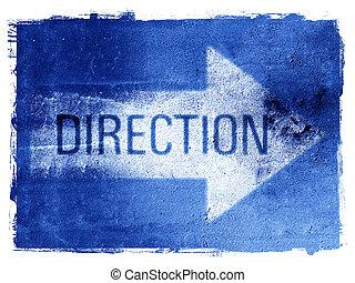Direction Arrow - Direction arrow on textured grunge ...