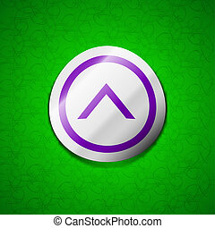 Direction arrow up icon sign. Symbol chic colored sticky label on green background.