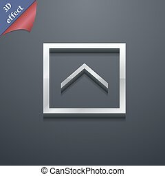 Direction arrow up icon symbol. 3D style. Trendy, modern design with space for your text Vector