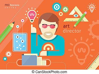 direction, art, gens, métiers, créatif, conception, emploi