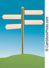 direction board on grassland