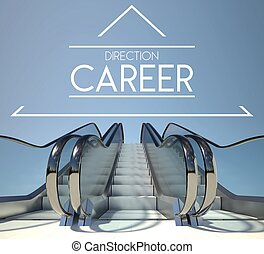 Direction career concept and stairs of success