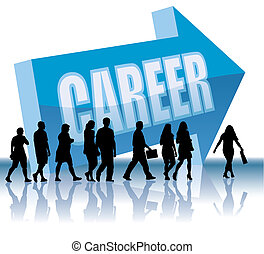 People are going to a direction - Career, vector illustration.