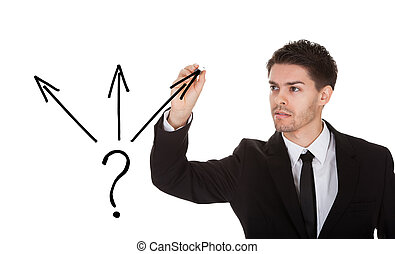 Direction choice concept - Man holding pen drawing direction...