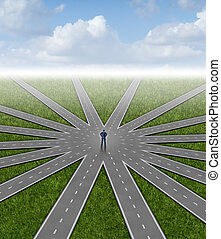 Direction choices and career decisions with a businessman standing in the center of a group of radial roads going in different paths as a business metaphor for government bureaucracy guidance and deciding on the best way towards success.