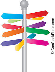 Direction Colorful Arrow Signs Illustration - Direction...