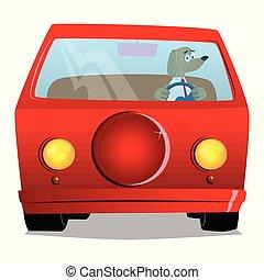 direction, conduite, chien, tenue, wheel.