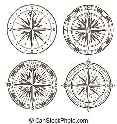 direction, ensemble, vendange, nautique, signes, symboles, vecteur, retro, compas