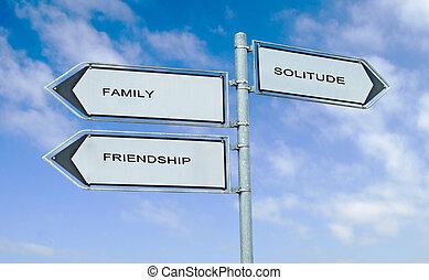 direction, famille, panneaux signalisations, solitude, mots, amitié