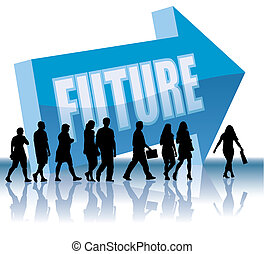 People are going to a direction - Future, vector illustration.