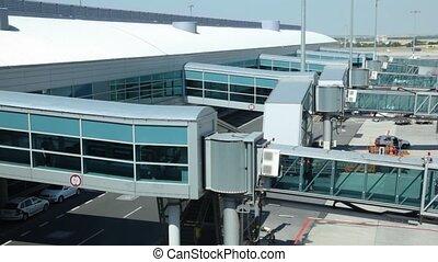 direction, gens, verre, aéroport, avion, en mouvement, croisement