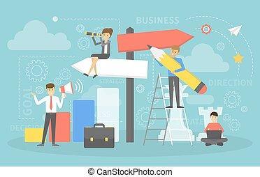 direction., handlowy zaludniają, idea, strategia, cele, wybierając