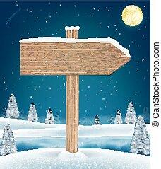direction, hiver, lac, signe, bois, planche, noël