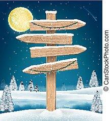direction, hiver, lac, signe, bois, planche