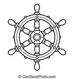 direction, illustration, vendange, roue, bateau