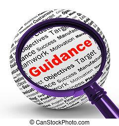 direction, loupe, définition, moyens, conseil, et, aide