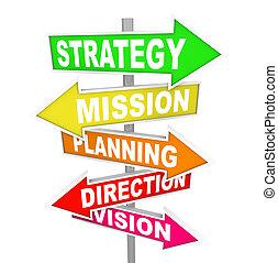 direction, mission, stratégie, planification, panneaux ...