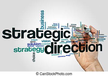 direction, mot, nuage, stratégique