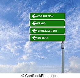 direction, mot, panneaux signalisations, corruption