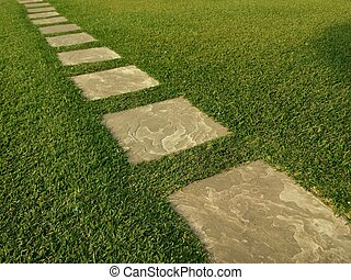 Direction of tile path on grass - Path paved with tiles on...