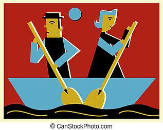 direction, opposé, aviron, gens, deux, bateau