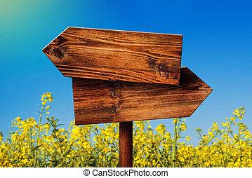direction, opposé, bois, signe, rustique, champ, rapeseed, vide