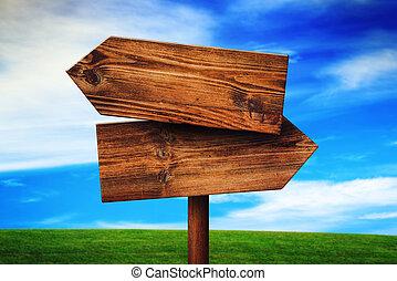 direction, opposé, bois, signe, rustique, champ, vide, prairie