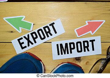 direction, opposé, exportation, signes, importation, ou