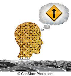 direction, pensée