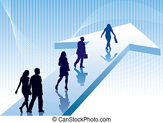 Direction - People are walking on a direction sign, vector ...