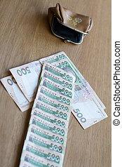 direction, portefeuille, ukrainien, monnaie, flèche, petit, factures, spectacles