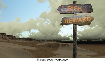 direction, récompense, -, risque, signe