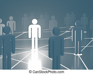 direction, réseau, gens