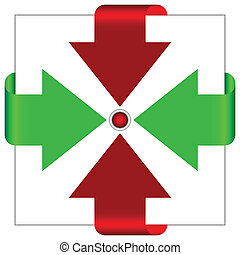 Red and green arrows go to the center.