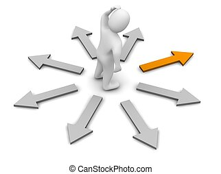 direction., representado, illustration., direita, escolher, ...