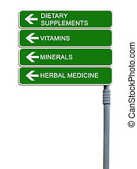 Direction road sign to Dietary  Supplements