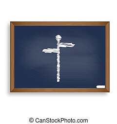 Direction road sign. White chalk icon on blue school board with