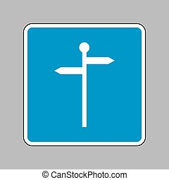Direction road sign. White icon on blue sign as background.