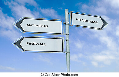 Direction road sign with  words antivirus, firewall, and problem