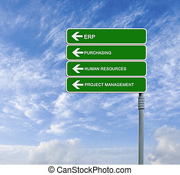 Direction road sign with words ERP,purvhasing, human...