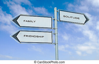 Direction road sign with  words family, friendship, solitude